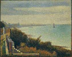 Grandcamp Evening Oil On Canvas By Georges Pierre Seurat 1885 Painted Border