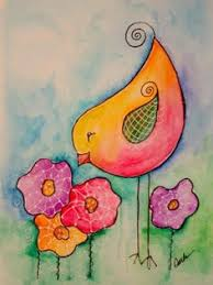Bird And Spring Flowers Watercolor Painting