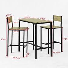 sobuy ogt03 ensemble table de bar 2 chaises set de 1 table 2