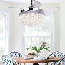 46 Inch Modern LED Crystal Chandelier Chrome Ceiling Fan With Lights And Remote Fandelier Retractable Blades