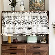 michorinee kurze scheibengardine blickdicht bistrogardine boho vorhang baumwolle und leinen geometrisch kurzstore gardinen mit quaste für küche