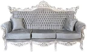 casa padrino barock 3er sofa master grau silber mod1