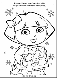 Surprising Dora Christmas Coloring Pages With The Explorer And