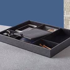 bedroom nightstand leather dresser caddy mens valet tray wood