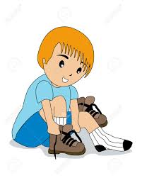 Boy Tying Shoelaces Royalty Free Cliparts Vectors And Stock