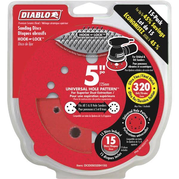 "Diablo Universal Hook and Lock Vented Sanding Disc - 12 Hole, 320 Grit, 5"", 15pk"