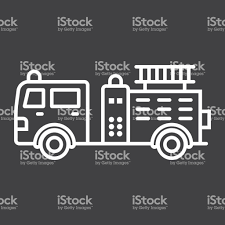 Fire Engine Line Icon Transport And Vehicle Fire Truck Sign Vector ...