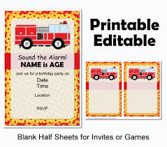 100 Fire Truck Birthday Party Decorations Instant Download Printable Files Banner Centerpiece Cupcake Toppers Thank You Cards