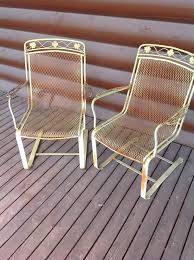 Salterini Iron Patio Furniture by 2 Vintage Salterini Floral Bouncing Rocking Wrought Iron Patio