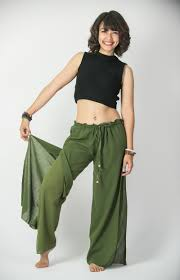 women u0027s thai harem double layers palazzo pants in solid green