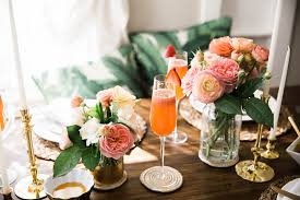 Strawberry Passion Fruit Bellini And Pink Flowers Table Decor Spring Brunch