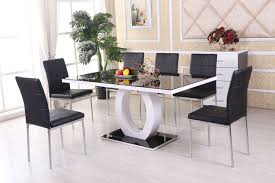 100 White Gloss Extending Dining Table And Chairs Black 6