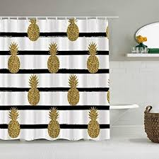 minalo duschvorhang schwarz weiß streifen gold ananas chic