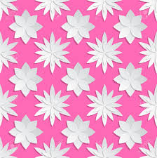 Paper Cut Flowers Background Origami Vector Floral Pattern Flower On Pink Backdrop