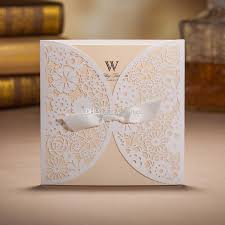 Laser Cut Flower Wedding Invitation Card Personalized Customized White Cover With Beige Insert Envelope Seal Invitations Wording Samples