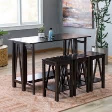 Belham Living Archer Espresso Drop Leaf Kitchen Table Set With 3 Stools