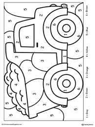 Color By Number Truck DownloadFREE Worksheet