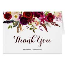 Burgundy Marsala Watercolor Floral Thank You Card