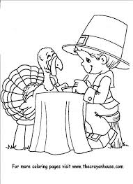Boy Eating Dinner With A Turkey Thanksgiving Coloring PagesFree