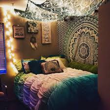 College Apartment Bedroom Stringlights Tapestry