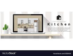 Interior Design Modern Kitchen Background 5 Stock Vektor Modern Kitchen Interior Design Background Vector Image