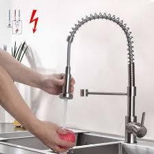 Kテシche Wasserhahn Mit Brause Niederdruck Küchenarmatur Edelstahl Gebürster Wasserhahn Küche Schwenkbereich 360 Spiralfederhahn Mit Ausziehbarer Brause Niederdruckarmatur Mit