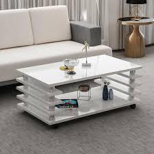 couchtisch weiß hochglanz 115 x 65 cm tisch wohnzimmertisch sofatisch mit rollen
