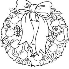 Christmas Wreaths Covered With Candy Cane And Glitter Balls Coloring Pages