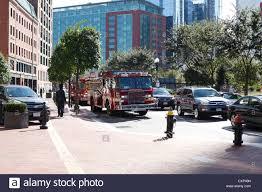100 Mass Fire Trucks Boston Parked On Atlantic Avenue At Rowes Wharf Boston