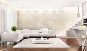 weißes interieur der modernen küche kombiniert mit wohnzimmer stockfoto und mehr bilder architektur