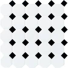 daltile matte white with black dot 12 in x 12 in x 6 mm ceramic