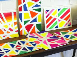 Easy Canvas Art Projects Painting Ideas With Tape Images About On