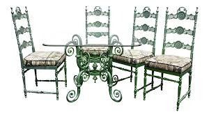 Vintage Regency Wrought Iron & Metal Patio Dining Room Table & Four Chairs  - 5 Pieces