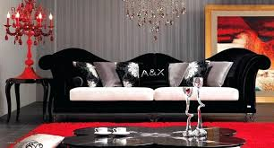 Very Red Living Room Accessories And Black Furniture Wall Decorating