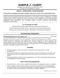 Retail Resume Templates Resumes Samples Supervisor Sample