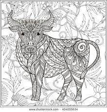 Cow On Floral Background Coloring Book For Adult And Older Children Page