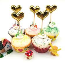 5 teile satz goldene herz geburtstag cupcake kuchen topper kuchen fahnen baby dusche geburtstag dekoration kuchen backen partei liefert
