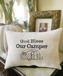 Camper Decor RV Throw Pillow God Bless Our Words Retro Vintage Theme Motorhome Travel Trailer Rustic Style Decorating