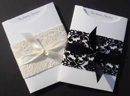 Elegant Black White Pocket Wedding Invitations Decoration With Ribbon And Lace On Lovely Envelopes
