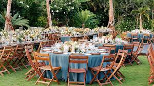 One Couple's Tropical Destination Wedding In Hawaii | Martha Stewart ... Amazoncom Balsacircle 10 Pcs Rose Quartz Pink Spandex Stretchable Chairs Set By Green Lawn Preparation Stock Photo Edit Now White Folding Wedding Reception The Best Picture In Ideas Pretty Unique Seating Inside Weddings 16 Easy Chair Decoration Twis Youtube Reception Tables With Tall Upright Nterpieces And Wooden Ipirations Encore Events Rentals Outdoor Waterfront Round Linen Tables Supplies 20x Stretched Cover Sparkles Make It Special Black Ivory Arched Beautifully Decorated For Outdoors