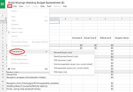Wedding Budget Spreadsheet Bridal Musings