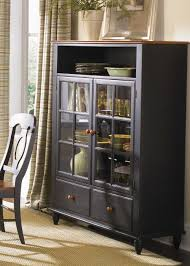 Black Painted Small Antique China Hutch