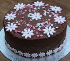 chocolate pink flower birthday cake
