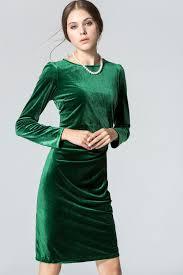 jhonpeter womens long sleeved round neck slim velvet pleated