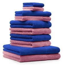 piece towel set classic premium royal blue old rose 2 face