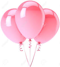Party balloons pink colored Romantic shiny birthday festival decoration Tender love happy emotions concept