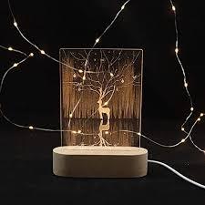 مصباح ليلي غزال غابة غابة غابة بمصباح led مبتكر قاعدة