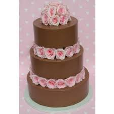 Wedding Cakes Milk Chocolate 3 tier cake with pink roses