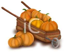 Cartoon of Pumpkins In a Wheelbarrow Royalty Free Clipart Picture