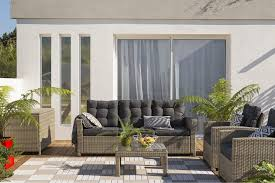 canapé 3 places de jardin en résine tressée daveport beige
